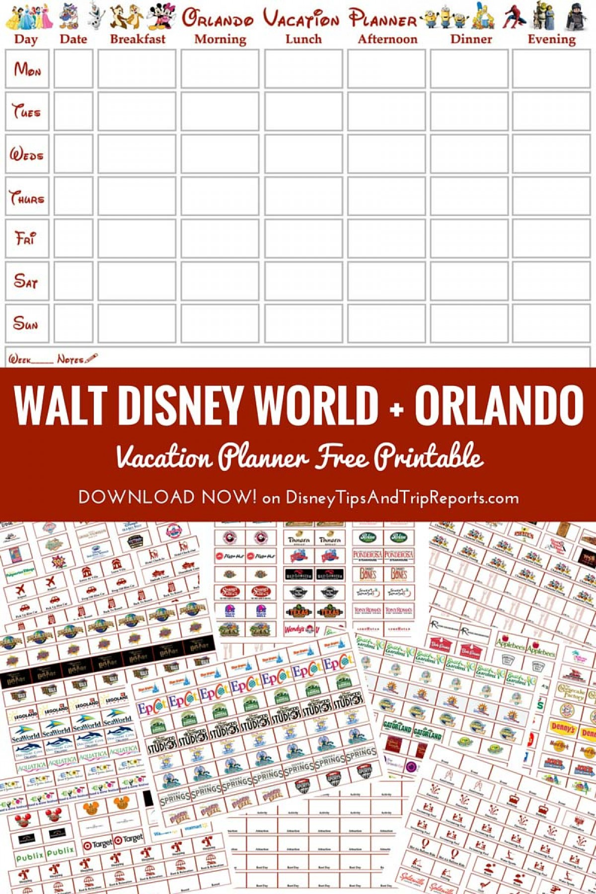 Calendar Planner Printable Sia : Walt disney world orlando vacation planner free