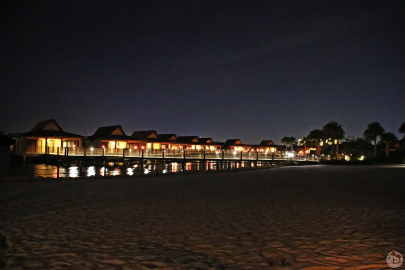 Bora Bora Bungalows - Disney's Polynesian Village Resort at night