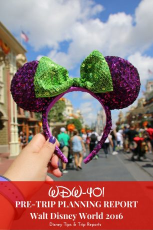 WDW-40: Pre-Trip Planning Report 2016 for Walt Disney World