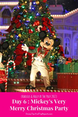 Day 6: Mickey's Very Merry Christmas Party / Hibiscus & Holly At The Poly Disney Trip Report 2017. In today's trip report is a visit to Disney Springs with lunch at Planet Hollywood, followed by an evening at MVMCP including Holiday Wishes, and Mickey's Once Upon A Christmastime Parade!